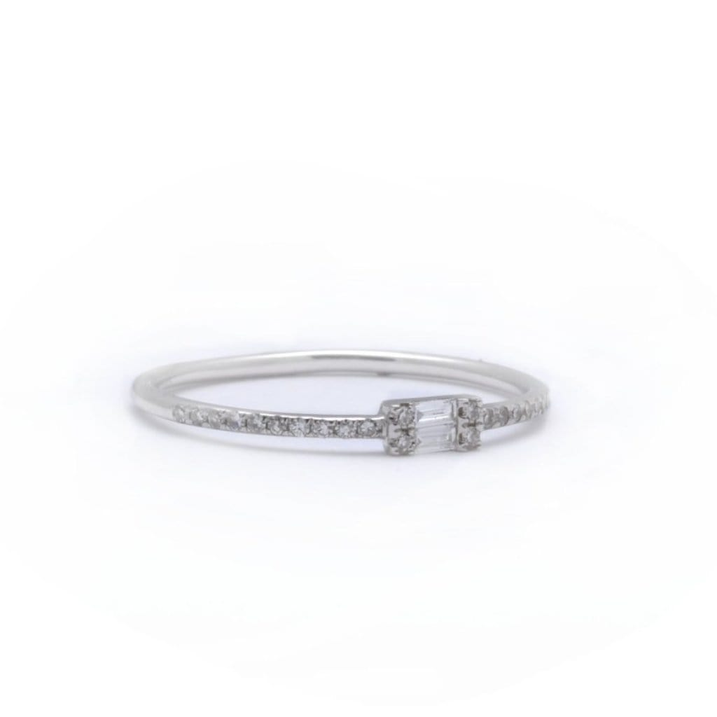 Double Baguette Micro Pave Diamond Ring