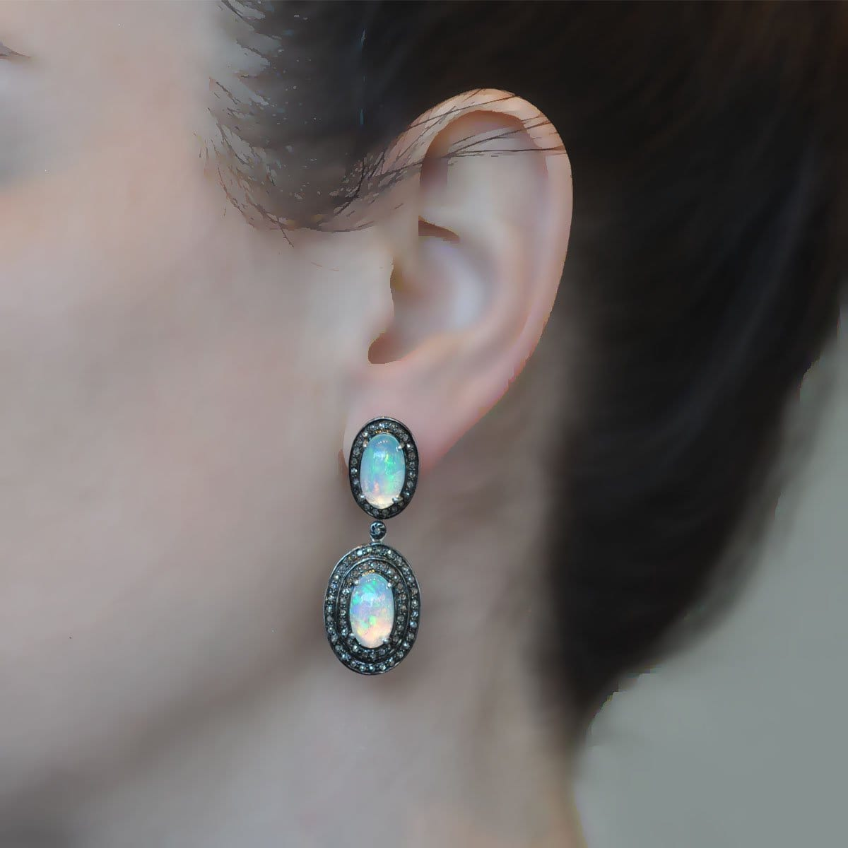 Double Row Diamond Drop Opal Silver Earrings