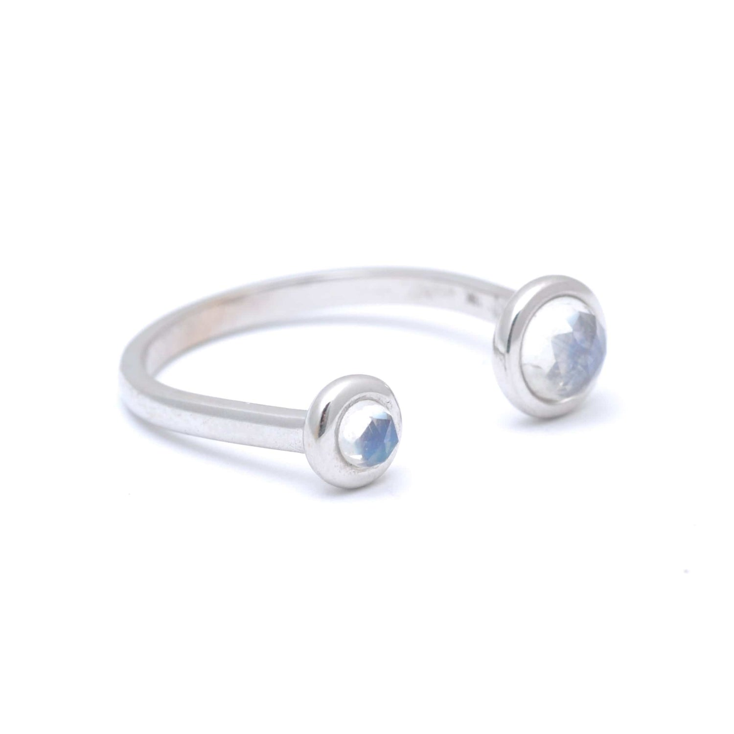 Two Moonstone White Gold Cuff Ring Meredith Young