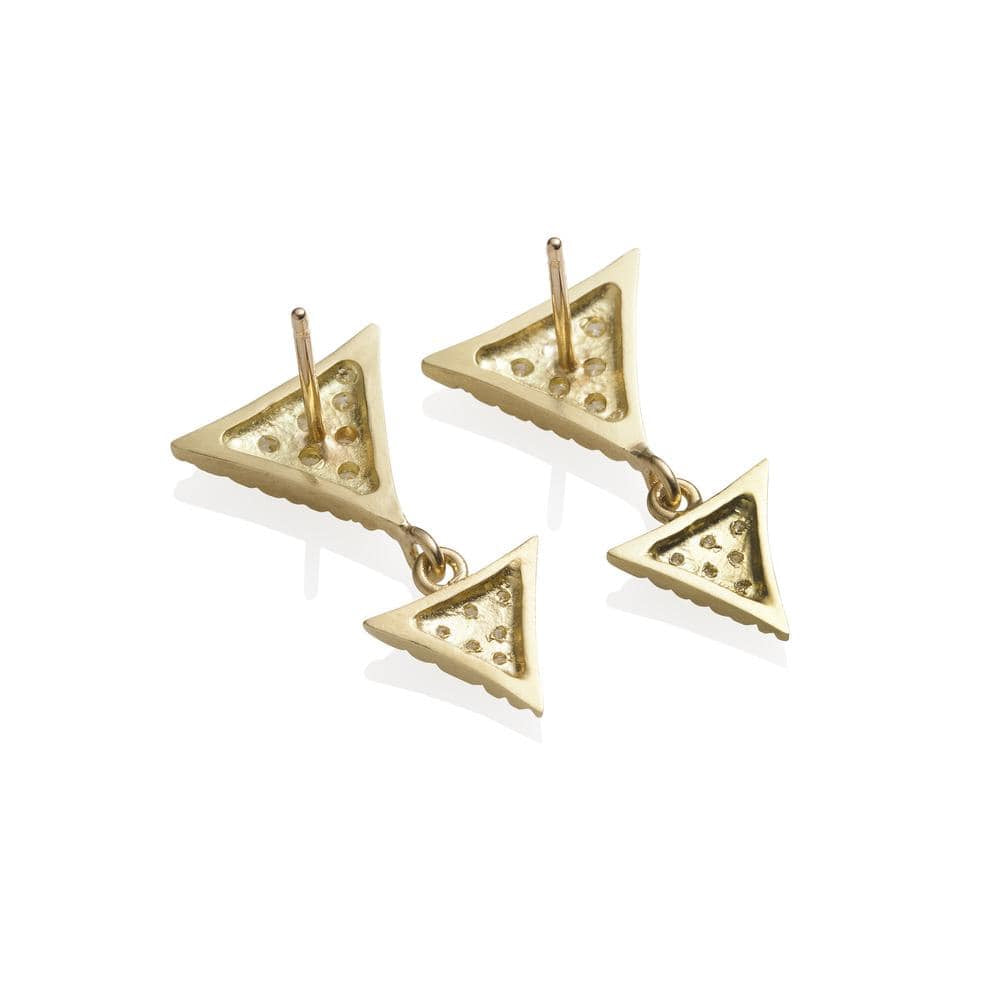 Double Triangular Pave Diamond Scale Drop Earrings - Curated Los Angeles