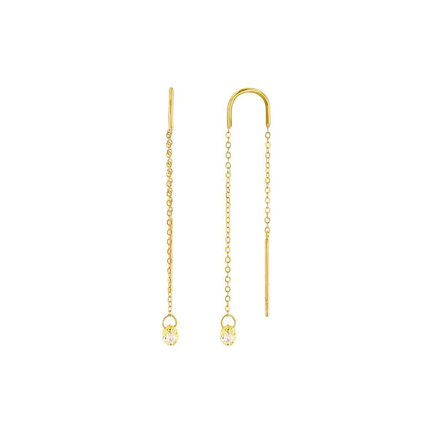 Fancy Light Yellow Diamond Briolette Gold Threaders