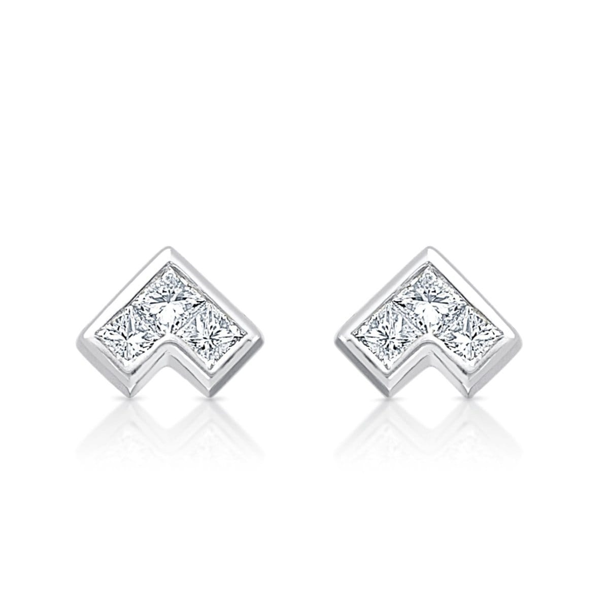 White gold princess cut diamond studs