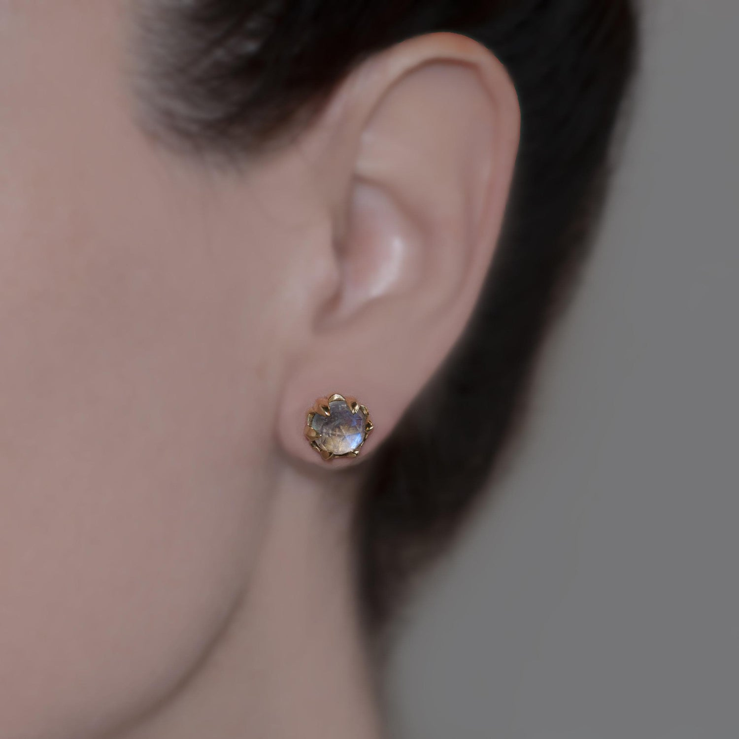 Faceted Moonstone Yellow Gold Studs