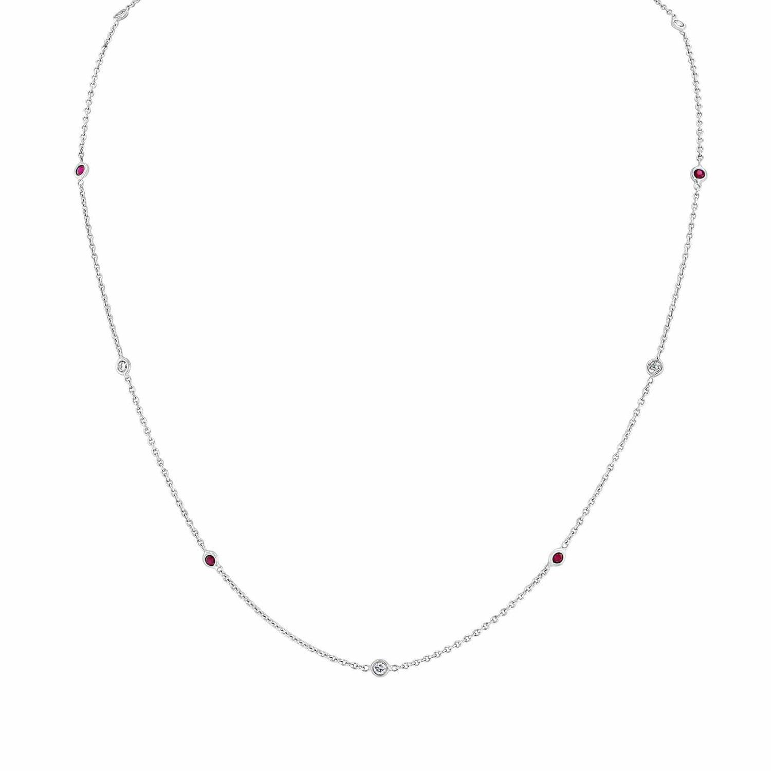 Diamond and Ruby Station White Gold Necklace