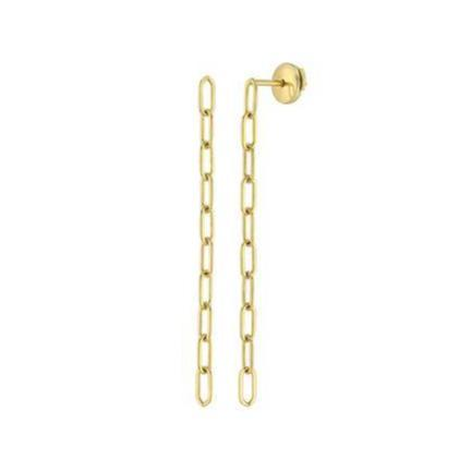 Chain Drop Yellow Gold Long Paperclip Earrings Elizabeth Jane Jewelry