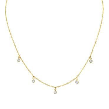 Five diamond shaker necklace rose cut diamonds elizabeth jane jewelry