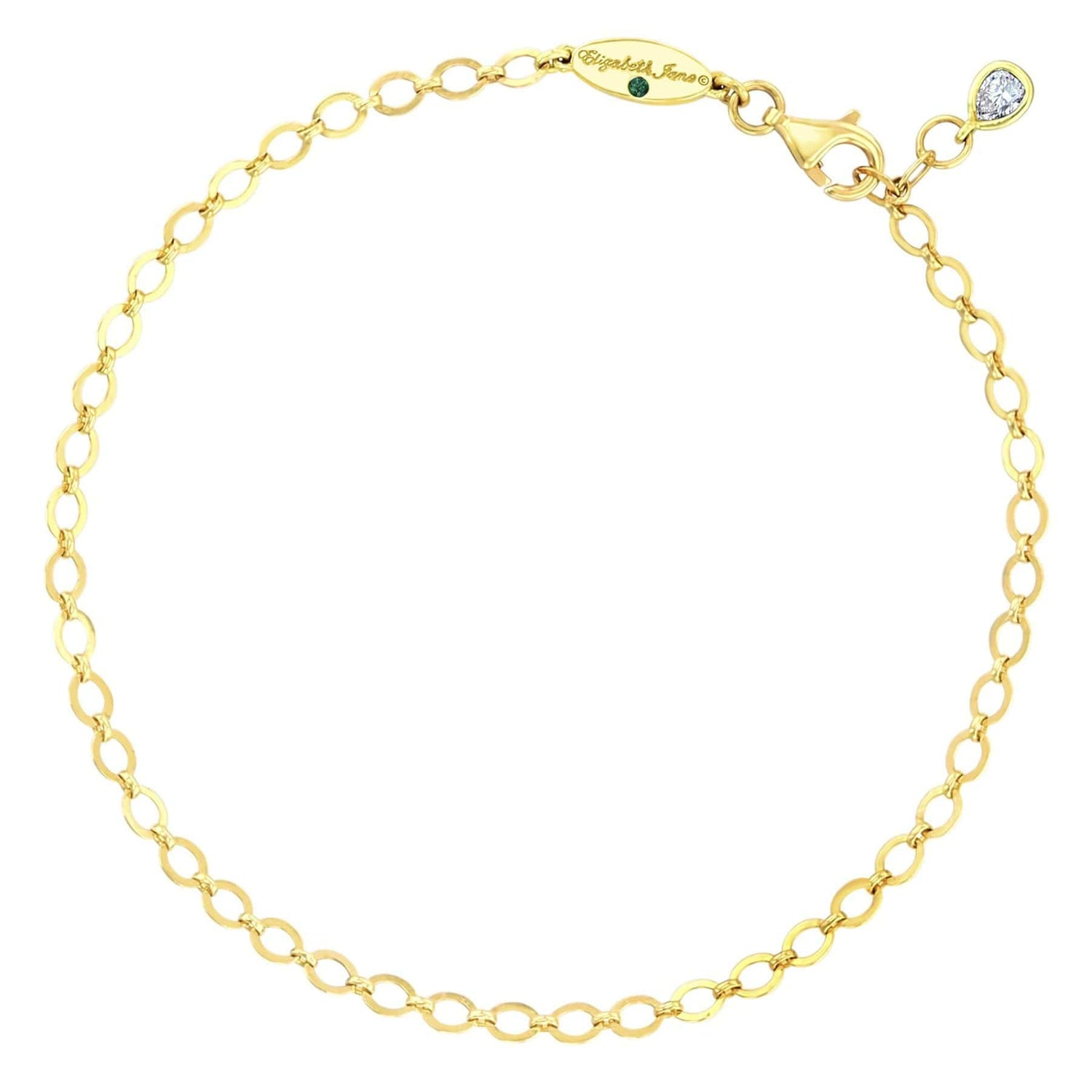 Flat Cable Link Chain Bracelet With Diamond Charm