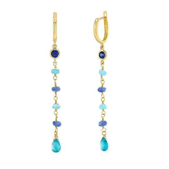 Blue Sapphire Aqua Tourmaline Dangle Earrings