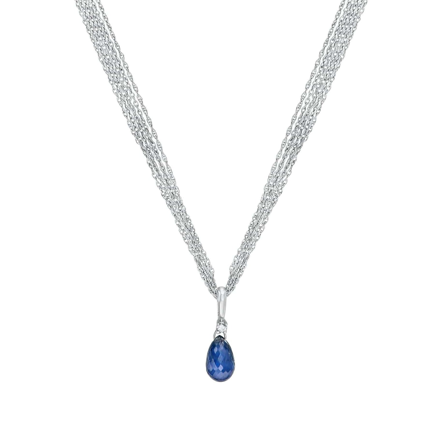 Blue Sapphire Briolette and Diamond Pendant