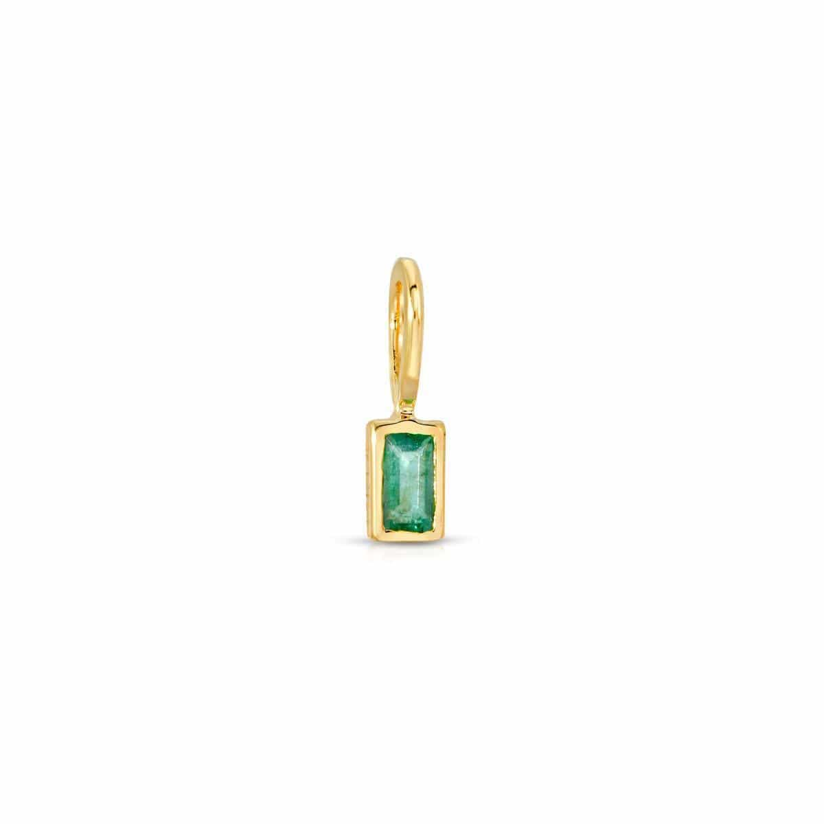 Emerald Baguette Cut Gold Charm