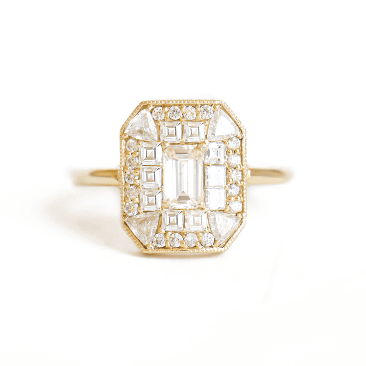 Emerald Cut Diamond Cluster Ring