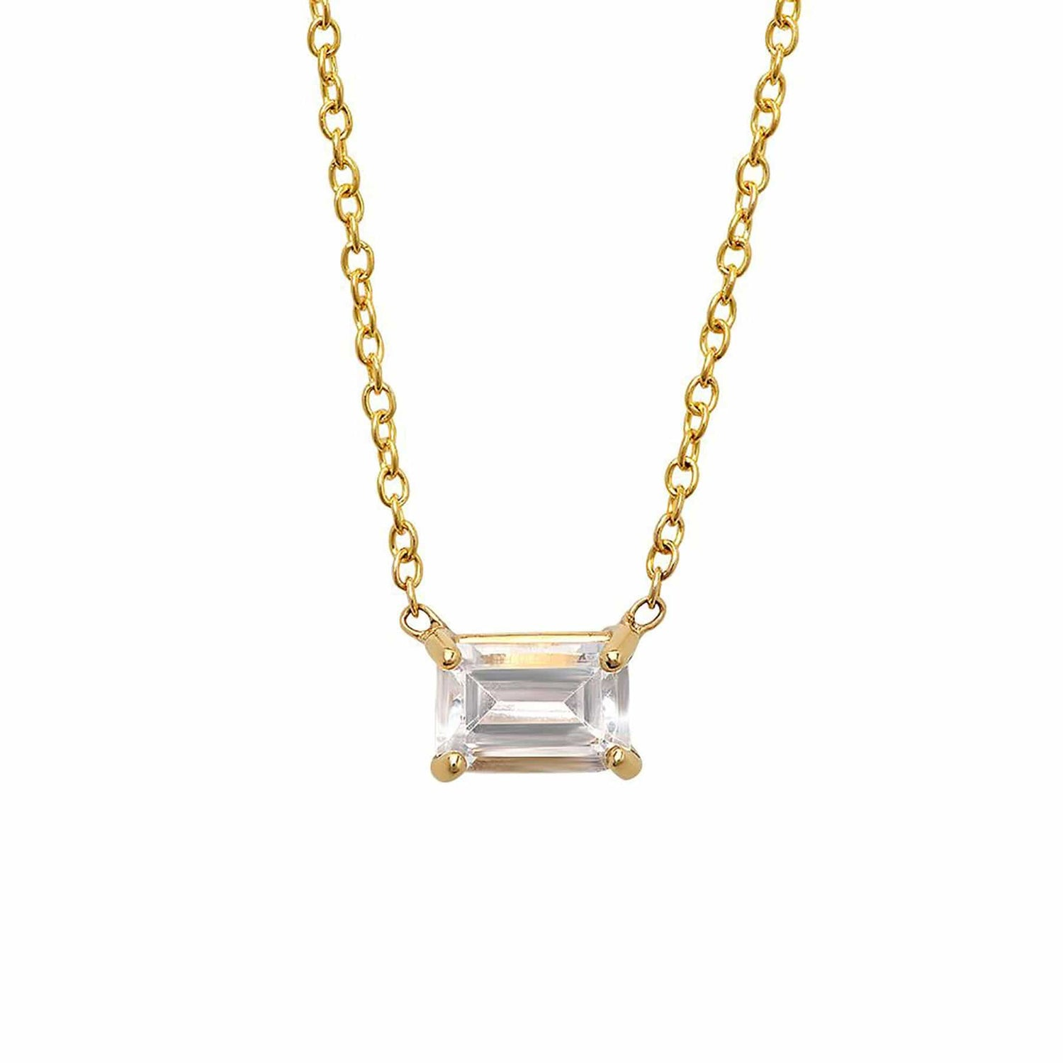 Emerald Cut White Topaz Necklace