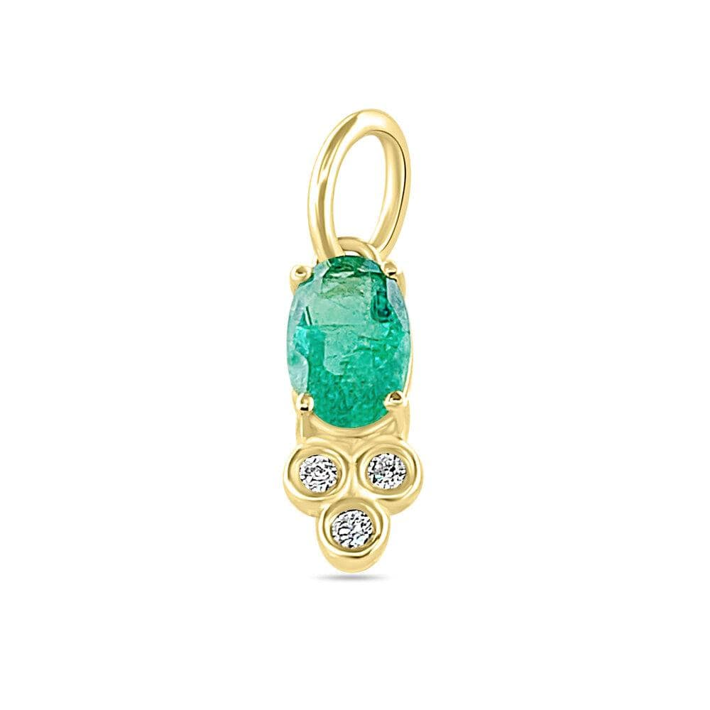 Oval Emerald Diamond Pendant