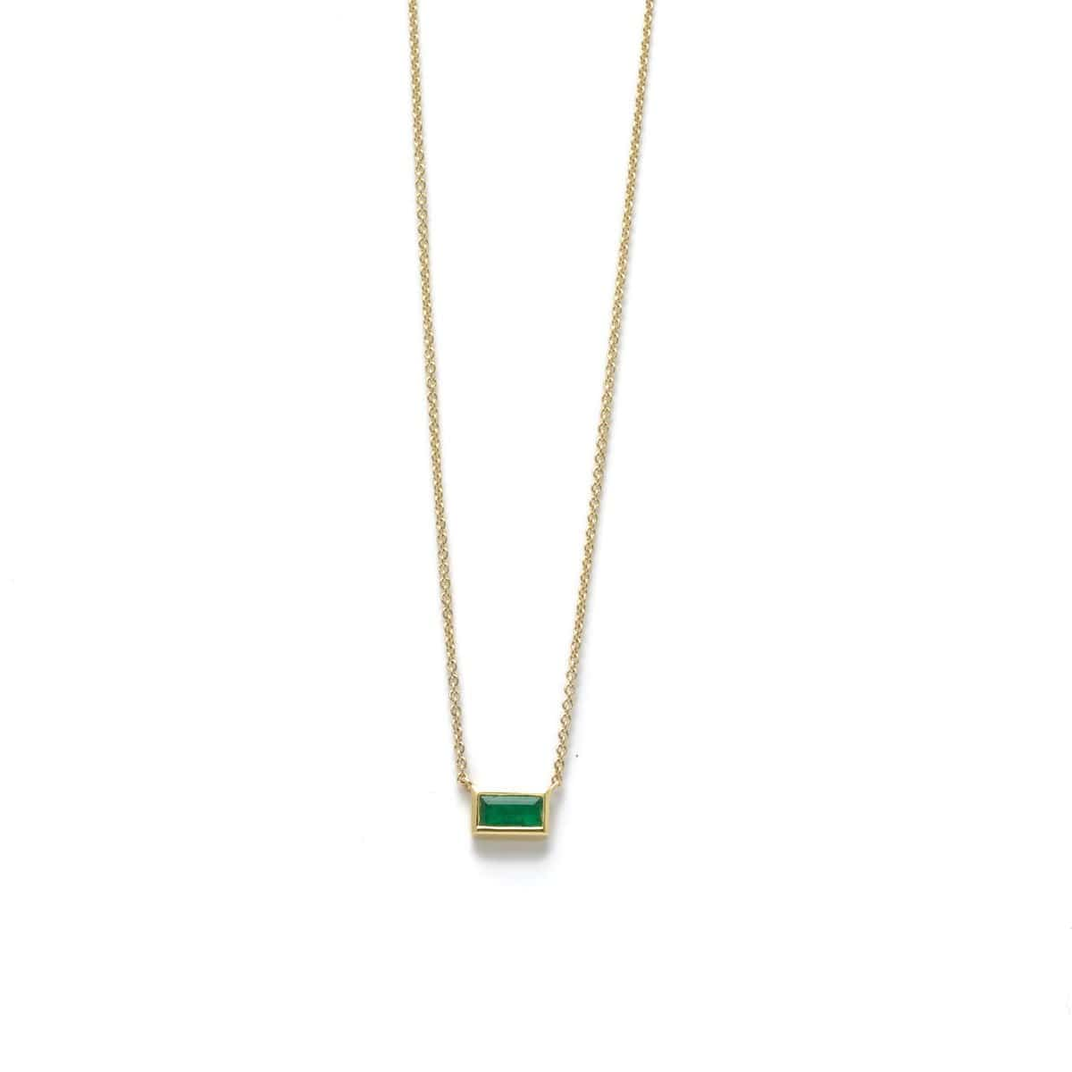 Horizontal Emerald Yellow Gold Station Necklace