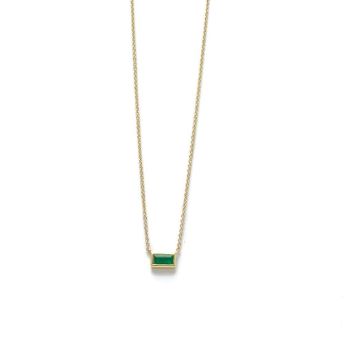 Horizontal Emerald Yellow Gold Station Pendant Necklace