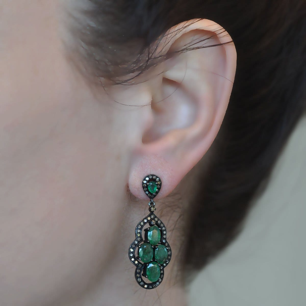 Diamond Emerald Cluster Black Rhodium Drop Earrings