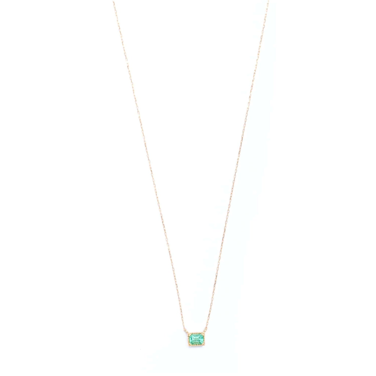 Emerald Solitaire Station Necklace