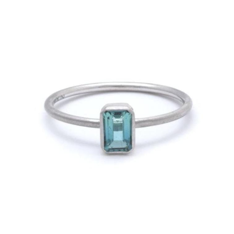Aqua Tourmaline Emerald Cut Solitaire Ring