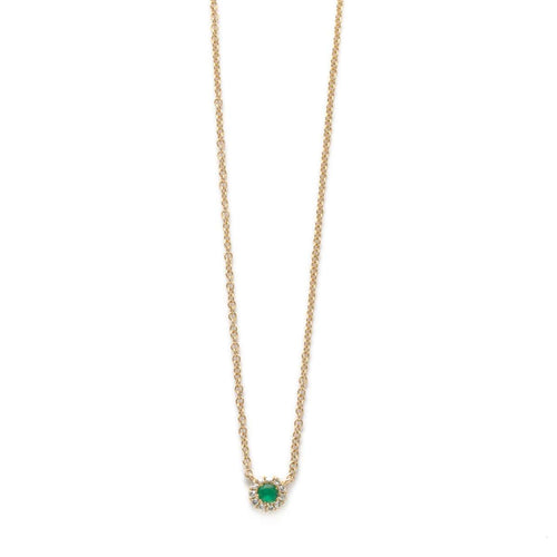 Emerald Diamond Halo Station Necklace