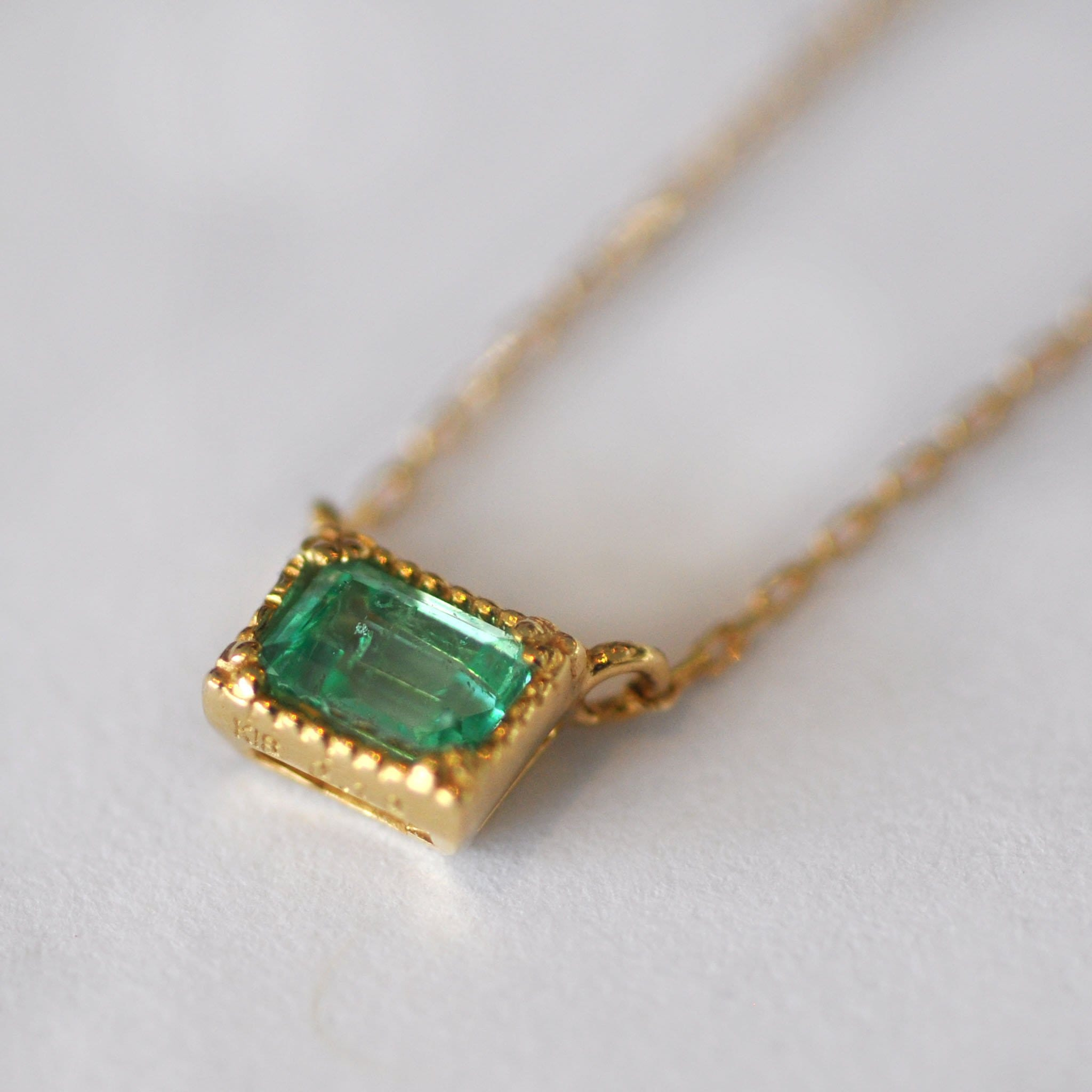 Emerald Solitaire Station Necklace - Curated Los Angeles