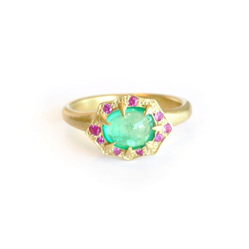 Emerald Cabochon Pink Sapphire Ring - Curated Los Angeles