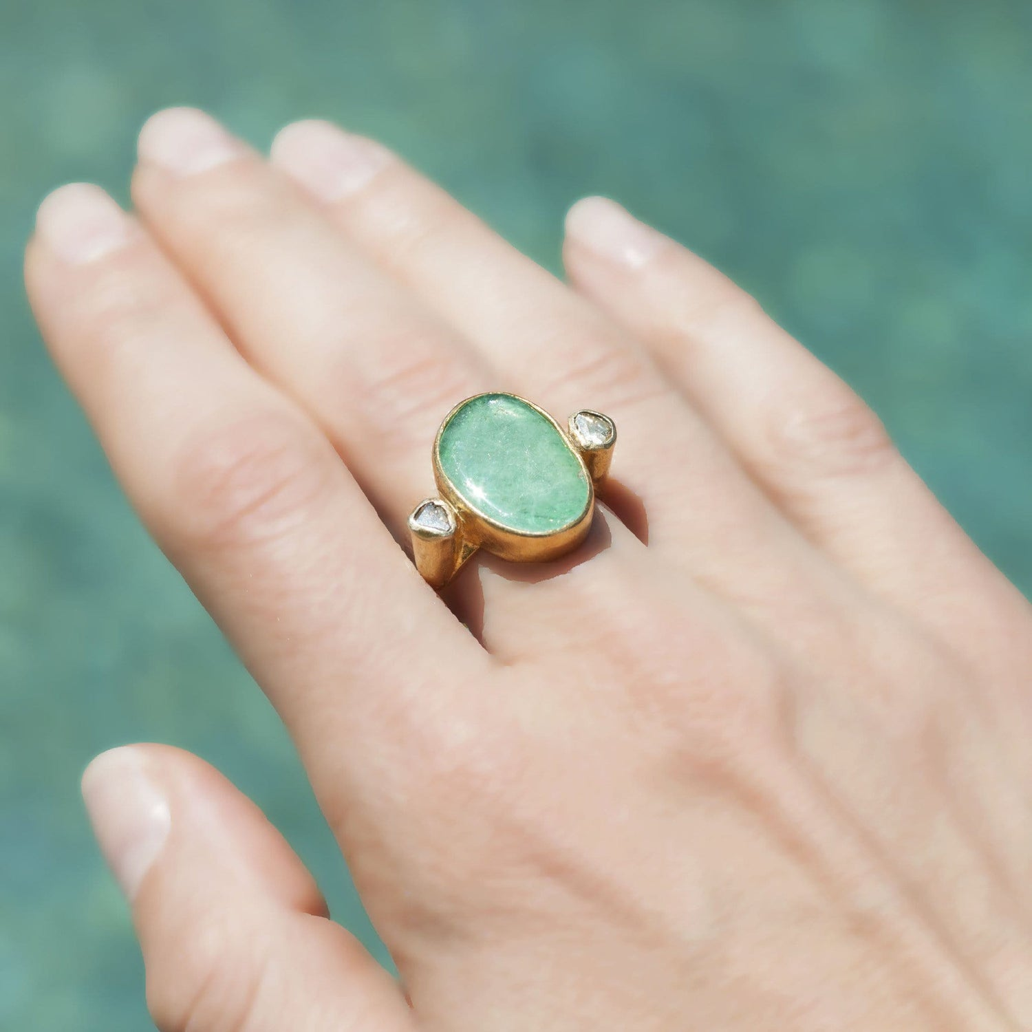 Emerald and Diamond Cocktail Ring - Curated Los Angeles