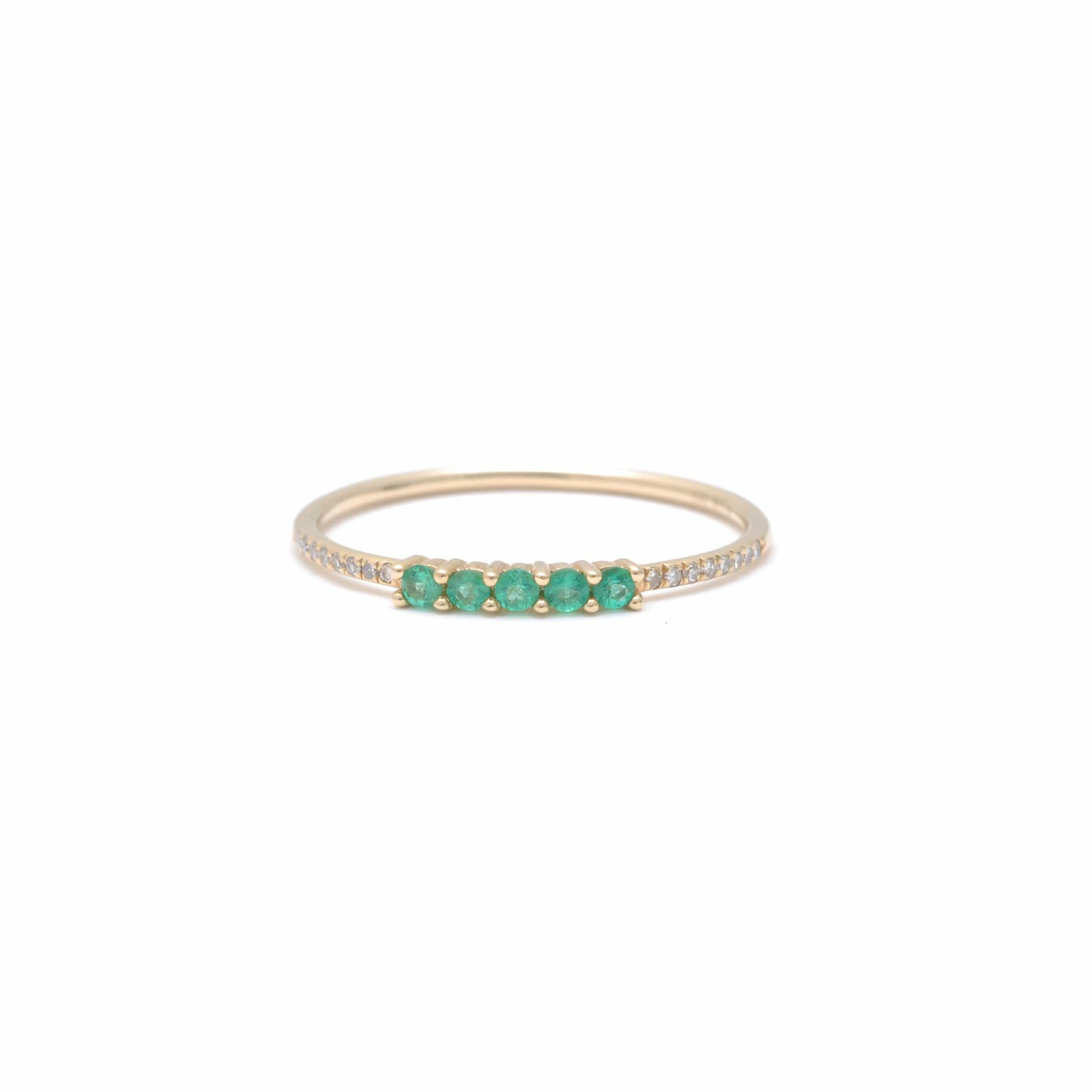 Round Emeralds And Pave Diamond Ring