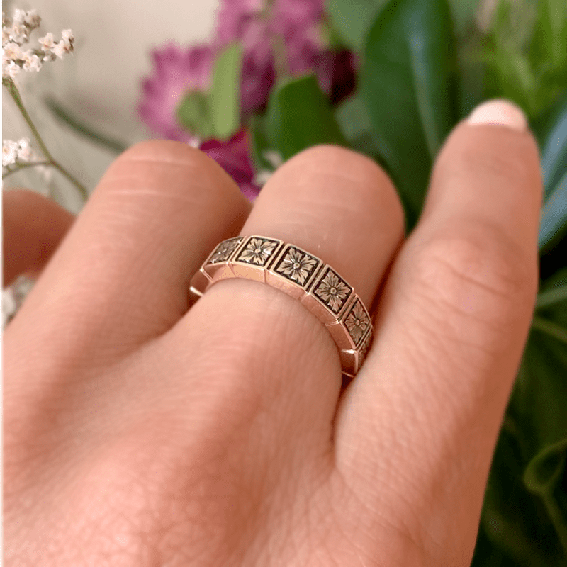 Flower Engraved Band