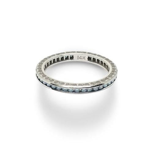 Fancy Light Blue Diamond White Gold Eternity Ring
