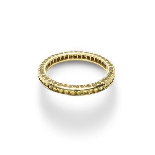 Fancy Yellow Diamond Yellow Gold Eternity Ring - Curated Los Angeles