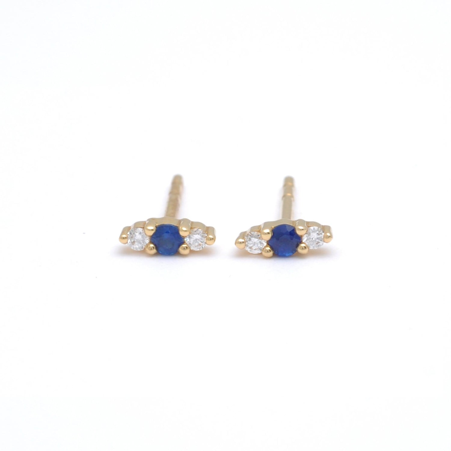 Evil Eye Blue Sapphire and Diamond Stud