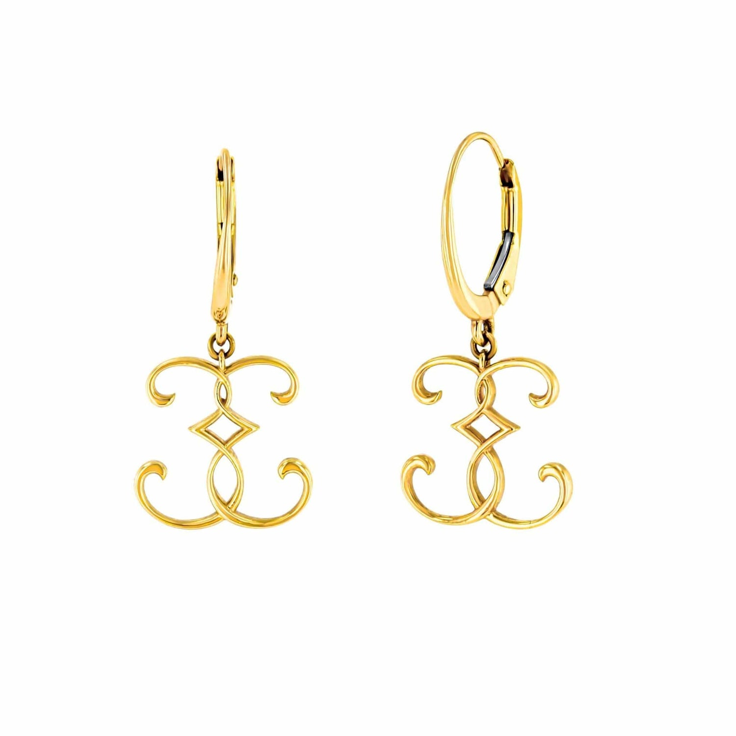 Lizzy Logo Yellow Gold Drop Earrings