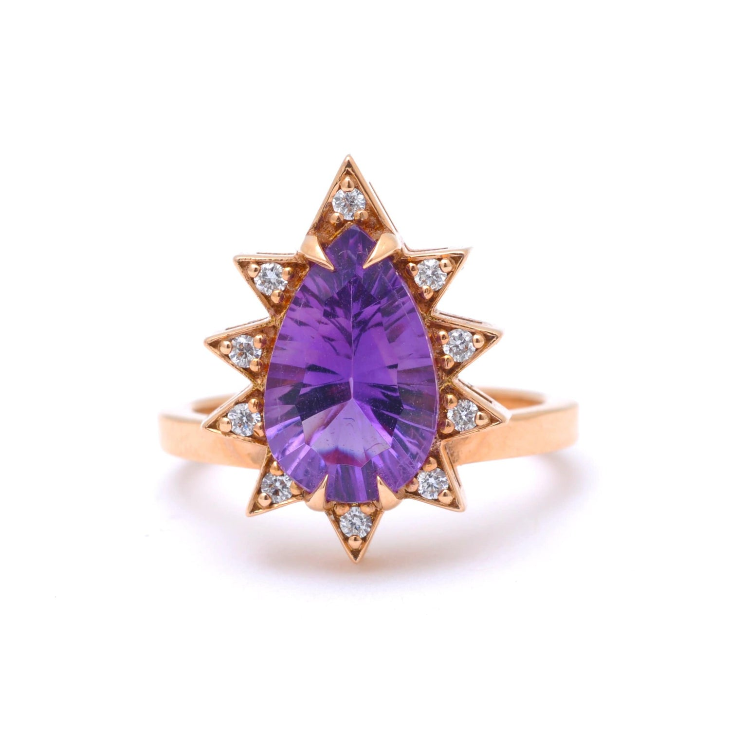 Fancy Pear Cut Amethyst Diamond Starburst Ring