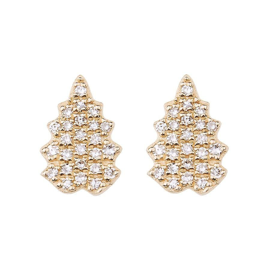 Diamond Pave Gold Leaf Studs