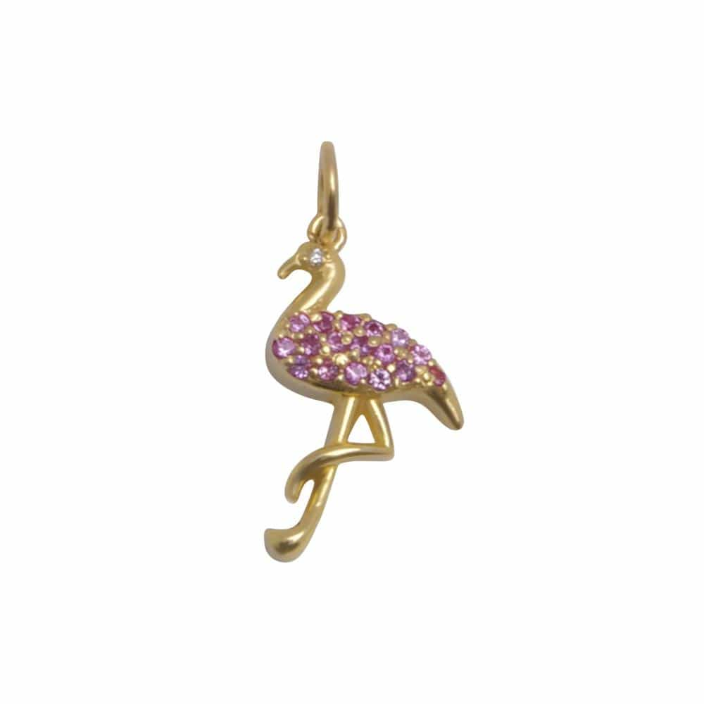 Pink Sapphire Yellow Gold Flamingo Charm Caitlin Nicole