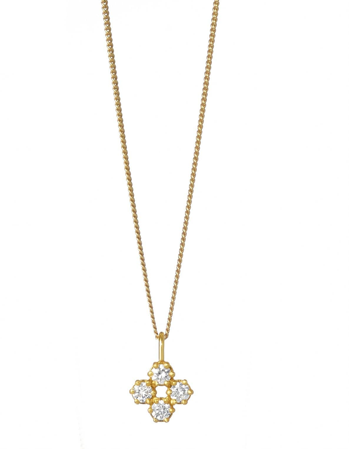 Four Diamond Charm Necklace