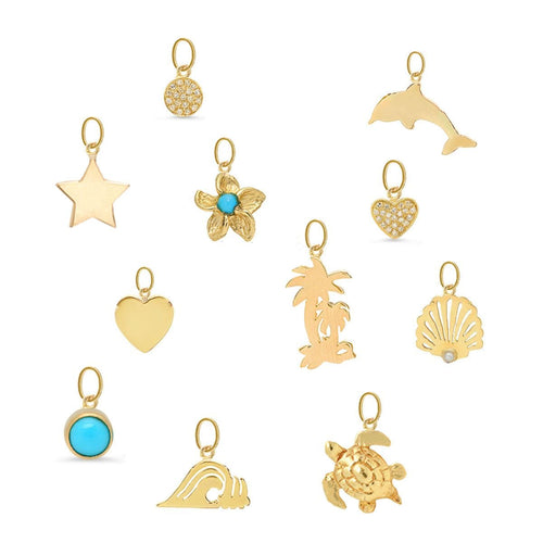 Wave Charm Yellow Gold