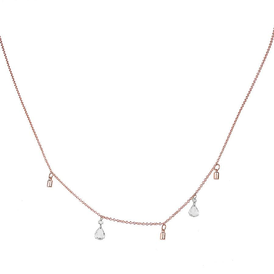 Drilled Diamond Rose Gold Drop Necklace