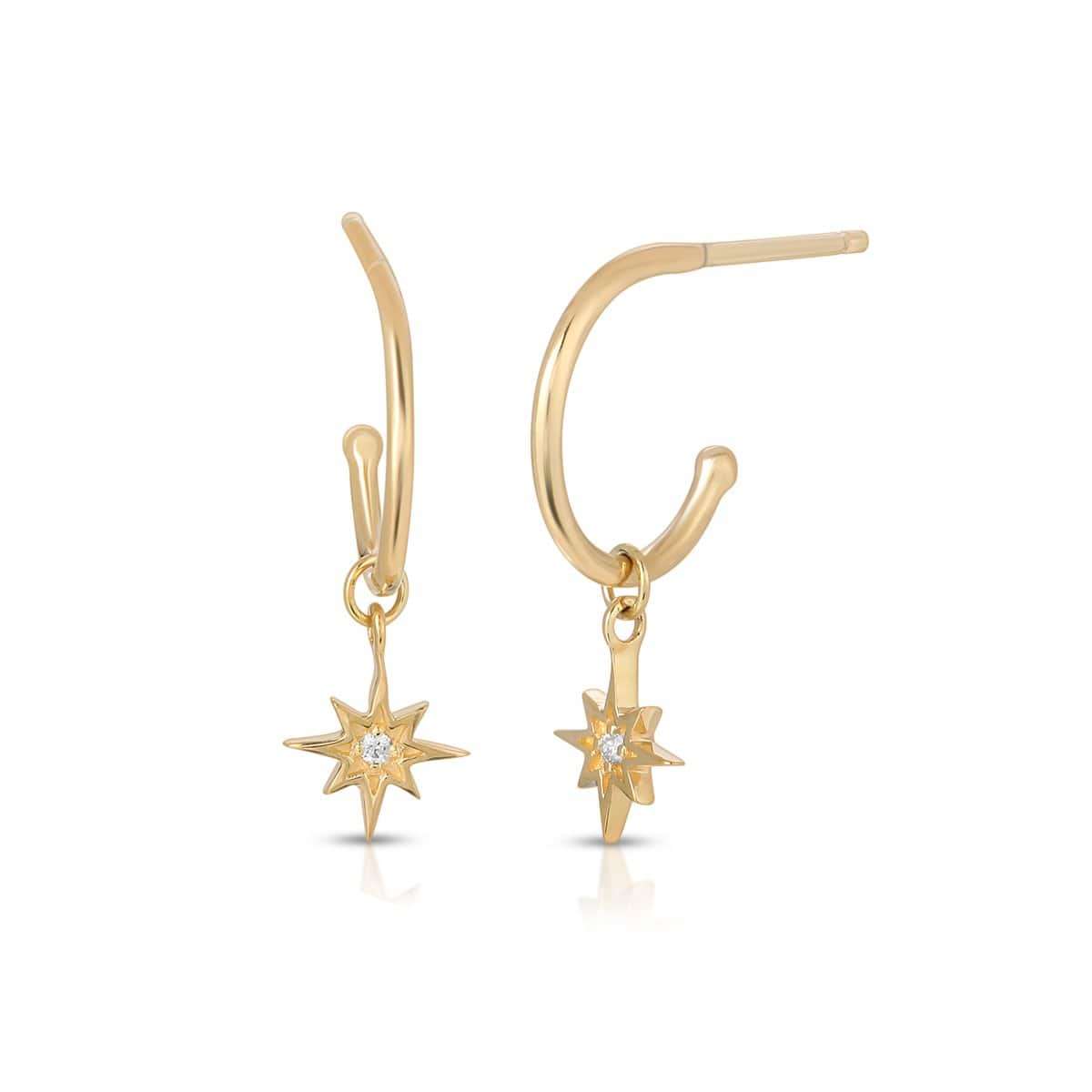Diamond Starburst Dangle Hoop Earrings Letreaime