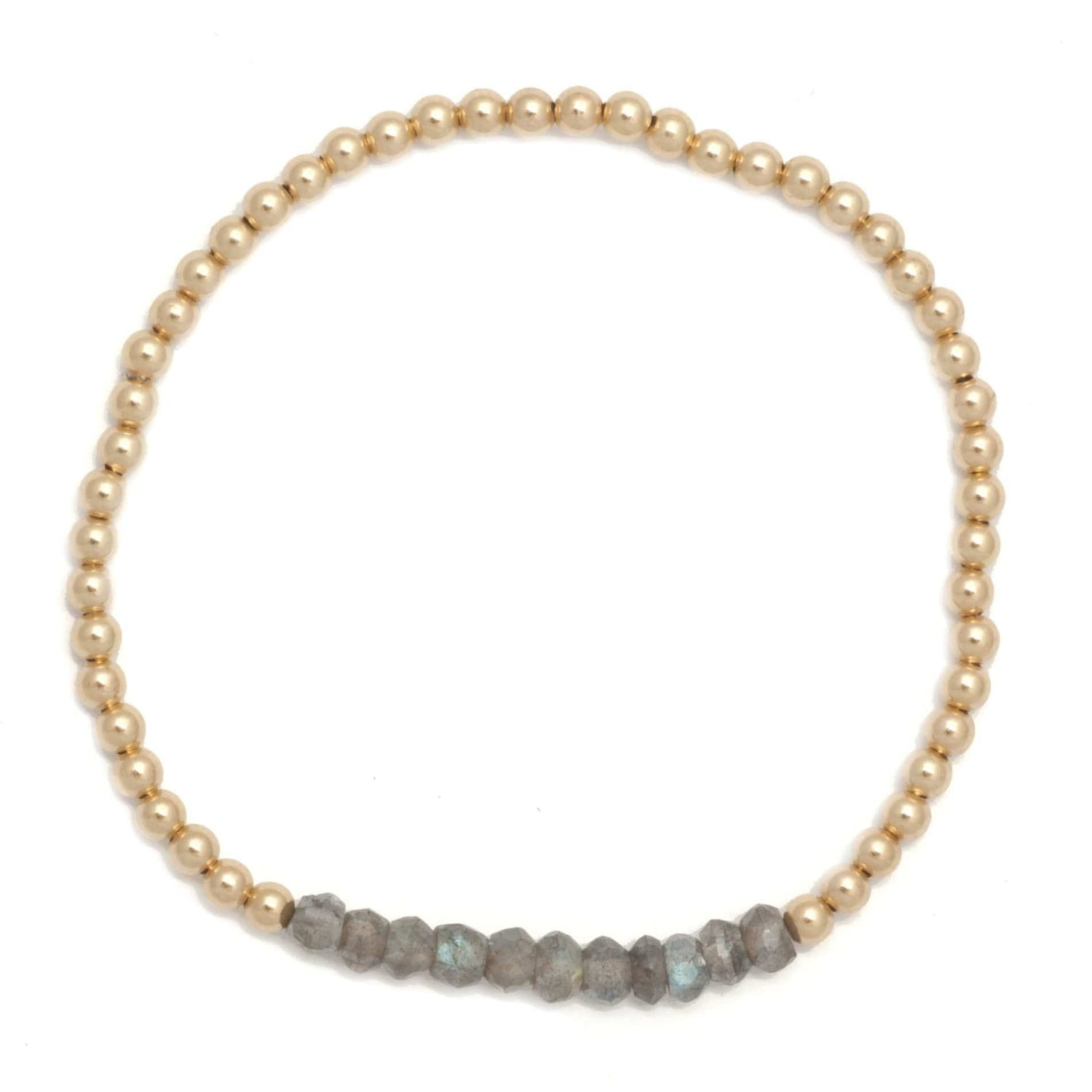 Karen Lazar 3mm Labradorite Gold Bead Layering Bracelet - Curated Los Angeles