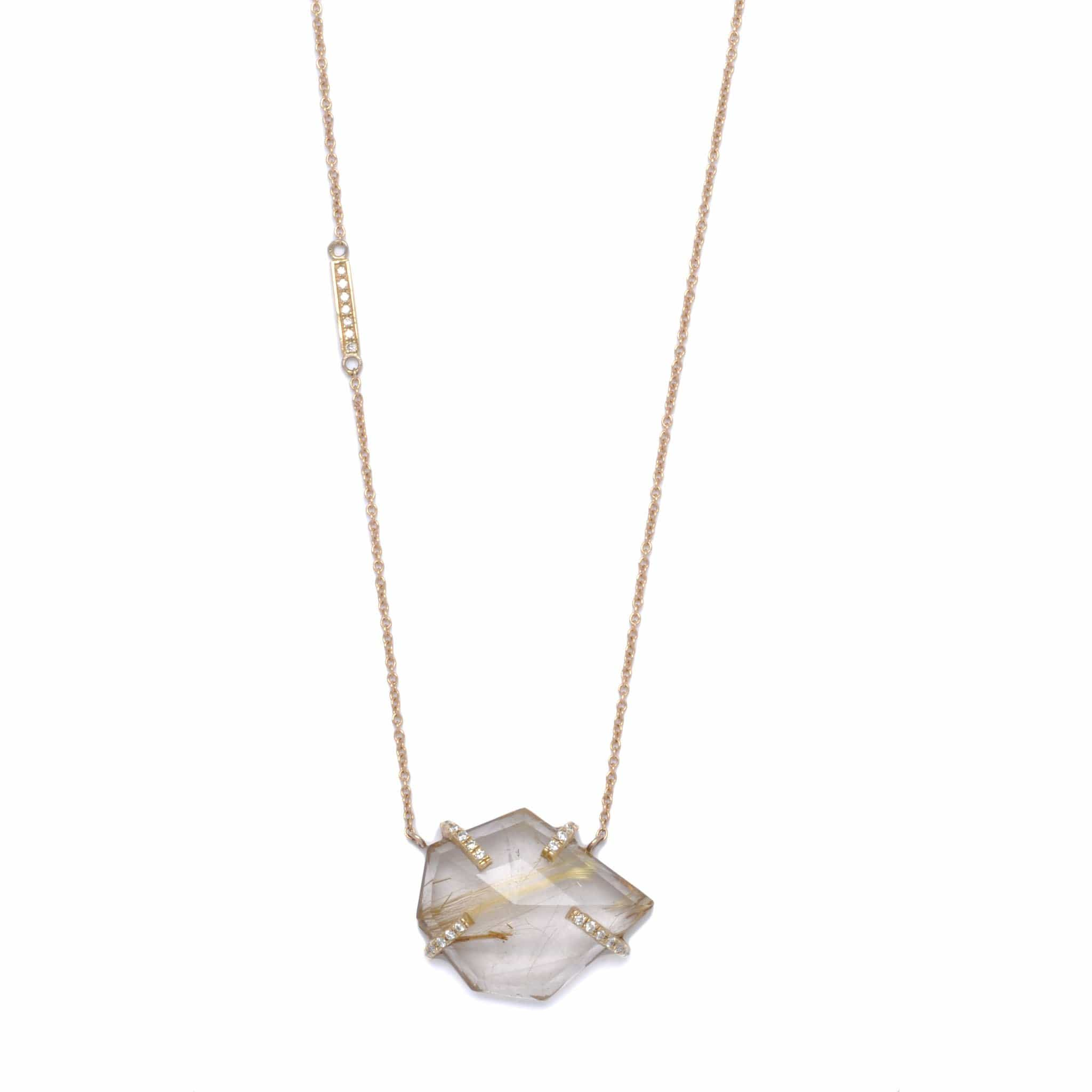 Rutilated Quartz Diamond Asymmetrical Necklace - Curated Los Angeles