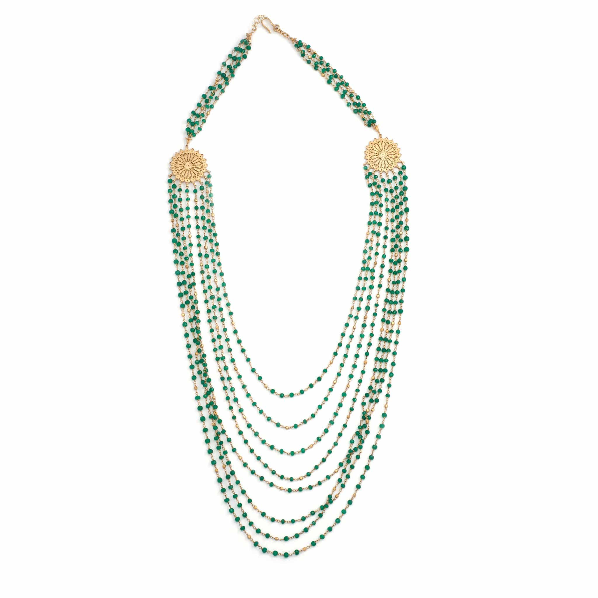 Green Chalcedony Filigree Statement Necklace - Curated Los Angeles