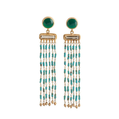 Green Turquoise Chandelier Earrings