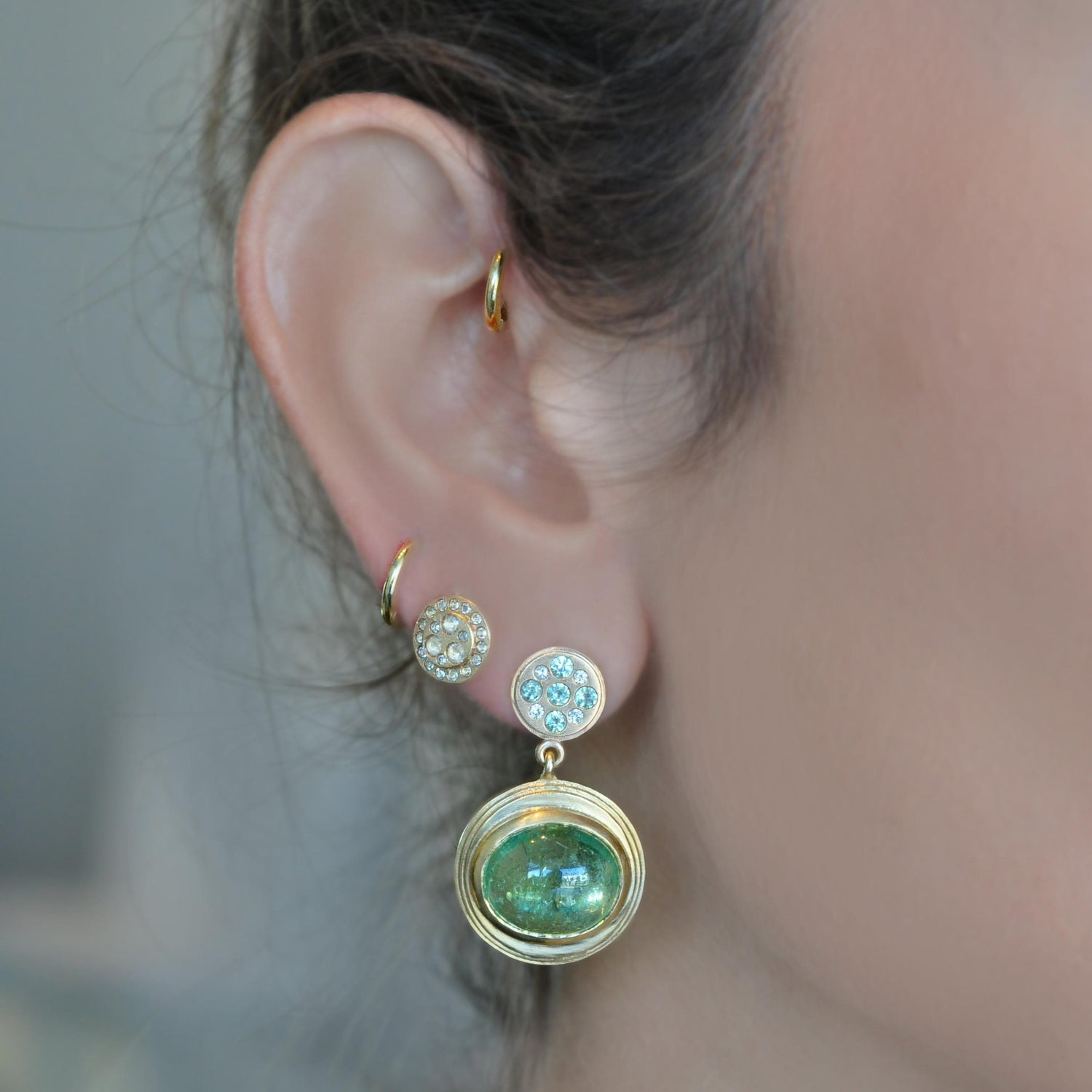 Spring Drop Green Tourmaline Mint Sapphire Diamond Earrings