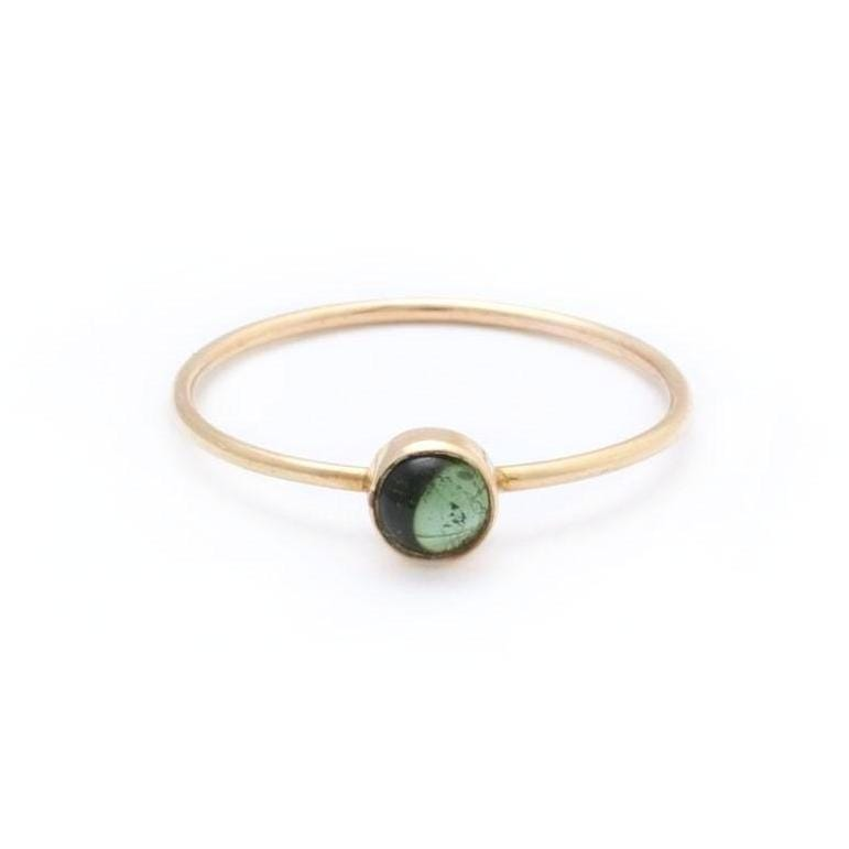 Dark Green Tourmaline Cabochon Solitaire Ring