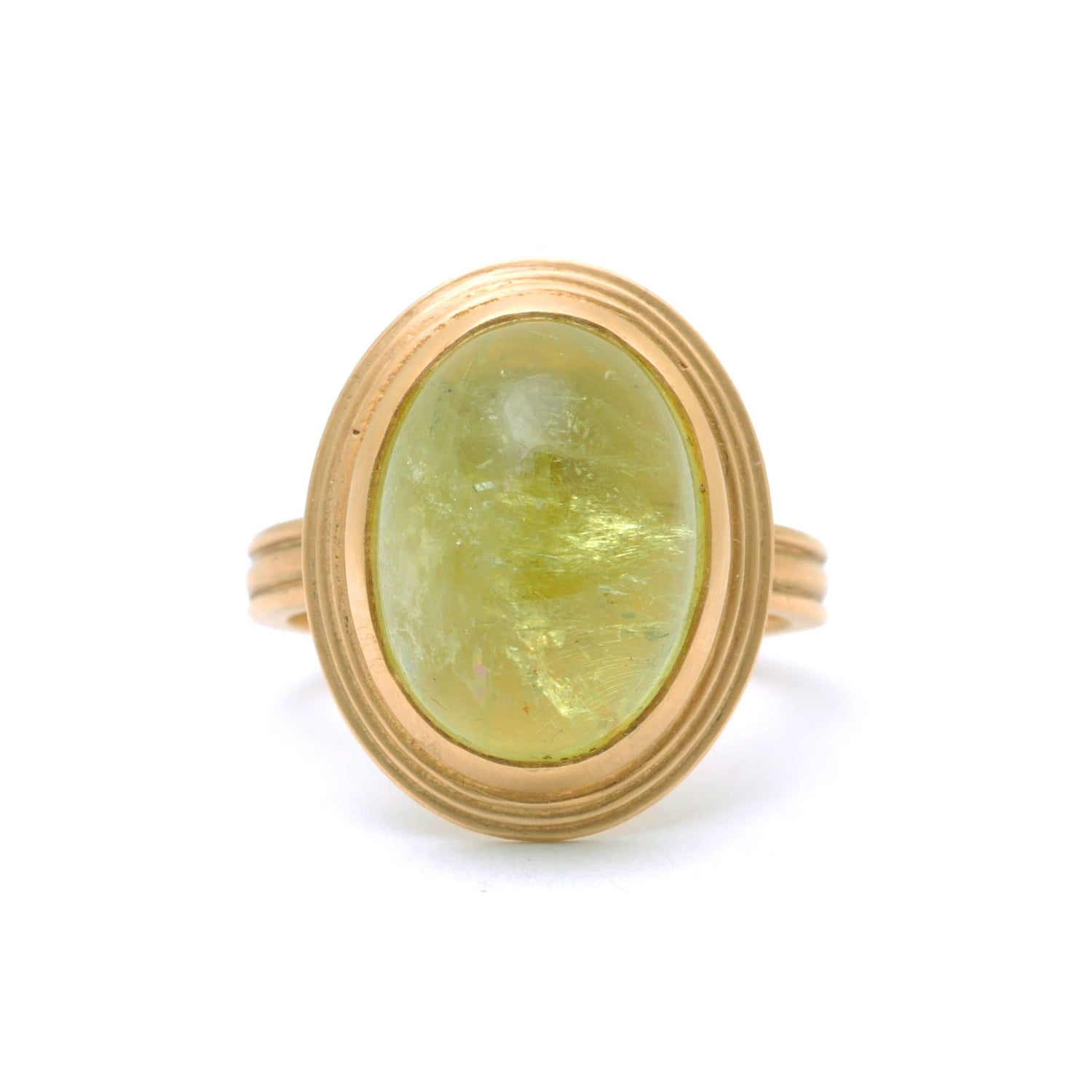 Cabochon Green Beryl Matte Yellow Gold Ring