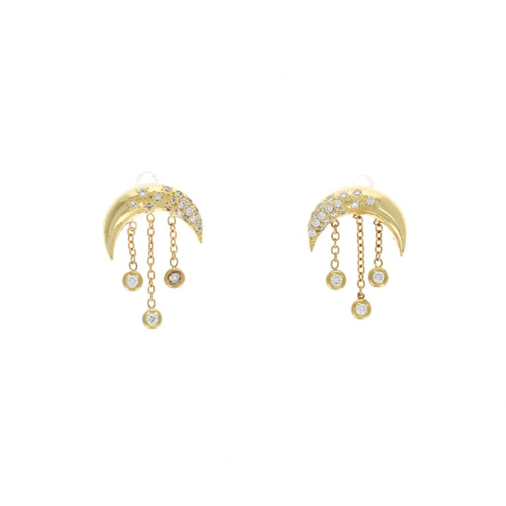 Crescent Moons Diamond Mini Fringe Earrings - Curated Los Angeles