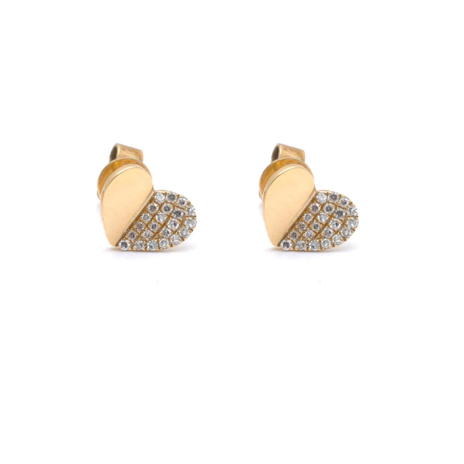 Yellow Gold Half Pave Diamond Heart Studs