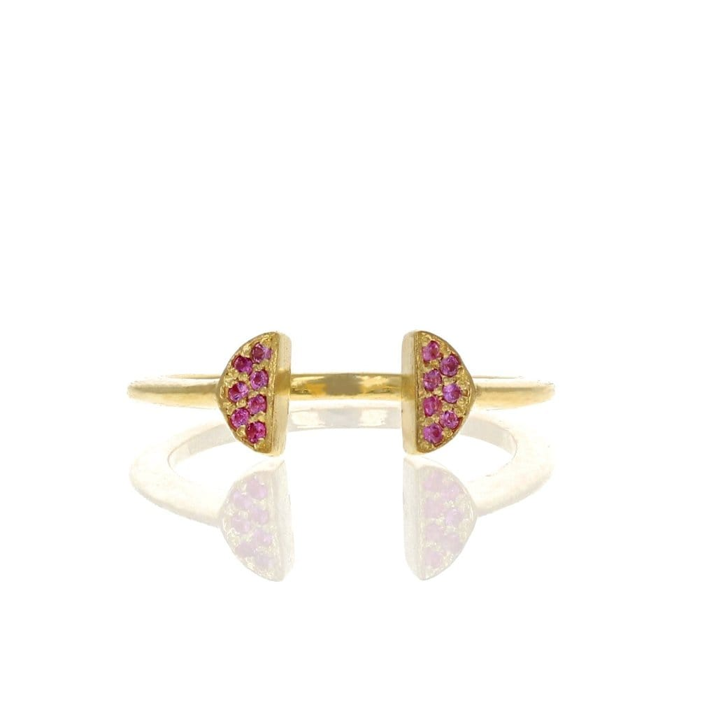 Pink Sapphire Double Half Circle Ring