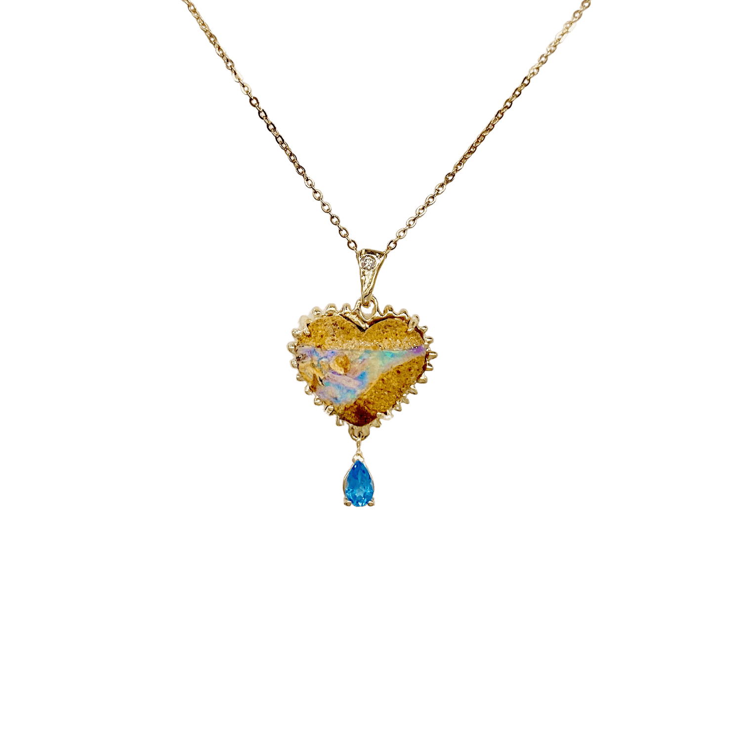 Opal Heart With Blue Topaz Drop Pendant